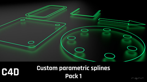 Custom parametric C4D splines pack 1