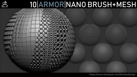 Zbrush - Armor Nano Brush + Meshes
