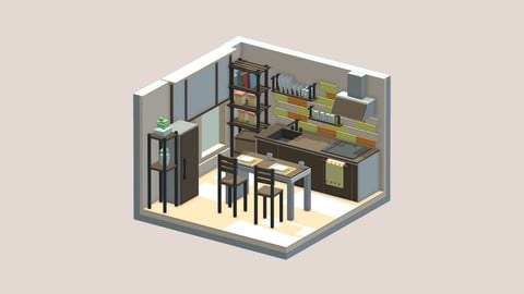 Isometric cartoon kitchen room