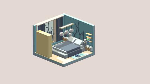 Isometric cartoon bedroom