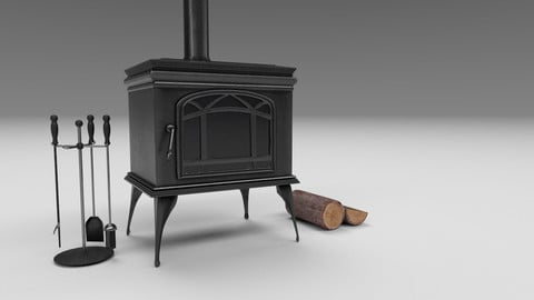 Fireplace and Logs and Equipment Low-poly 3D model