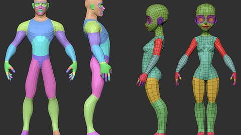 Pack - Stylized Full Male and Female Body Base Meshes