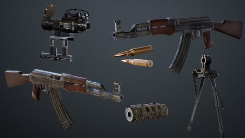 AK-47 Assault Rifle with Scope and Suppressor