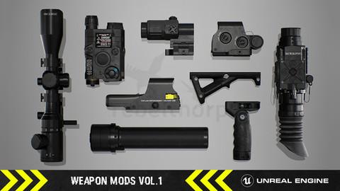 Weapon Mods Vol.1 - FPS Attachments [ Unreal Engine ]