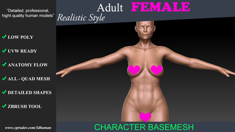 Low poly Basemesh Adult Female 01