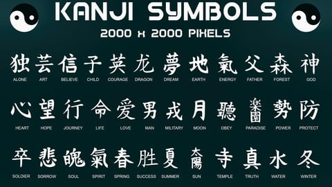 170+ handcrafted, transparend PNG decals. Kanji Symbols, Chinese Dragons and Russian Alphabet (clean and damaged versions)