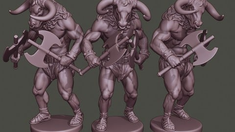 Minotaur Warrior Agressive two Axes