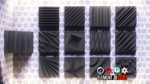 Acoustic Panels Kitbash Pack 3D Models