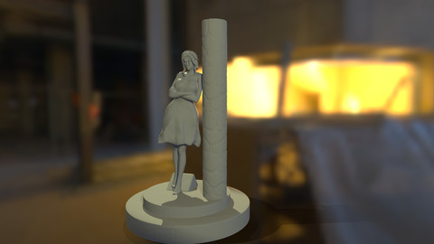Lady lost in thought - 3D print ready