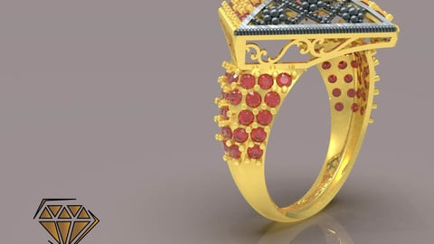 Flower Box Ring with Beads 3D print model
