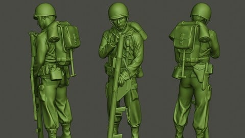 American soldier ww2 looking Bazooka A4