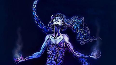 Poisonous - Scorpion woman in blue light