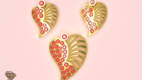 Heart Pendant with Beads 3D print model