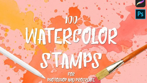 100 Watercolor Procreate Stamp Brushes
