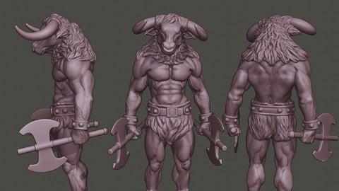Minotaur Warrior Stand3 two Axes