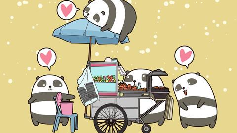 Kawaii pandas with portable stall