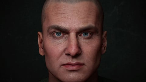 Game Animation Ready Male Face with 8K textures