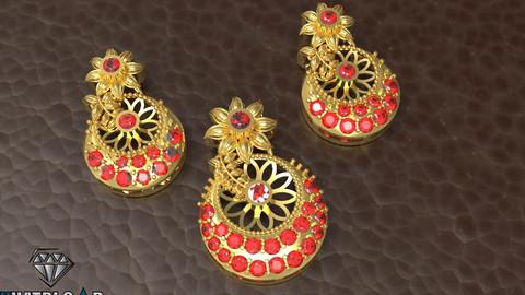 Flower Pendant with gemstones 3D print model