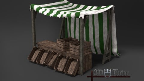 Medieval Market Stall Green and White 3D Model with Crates