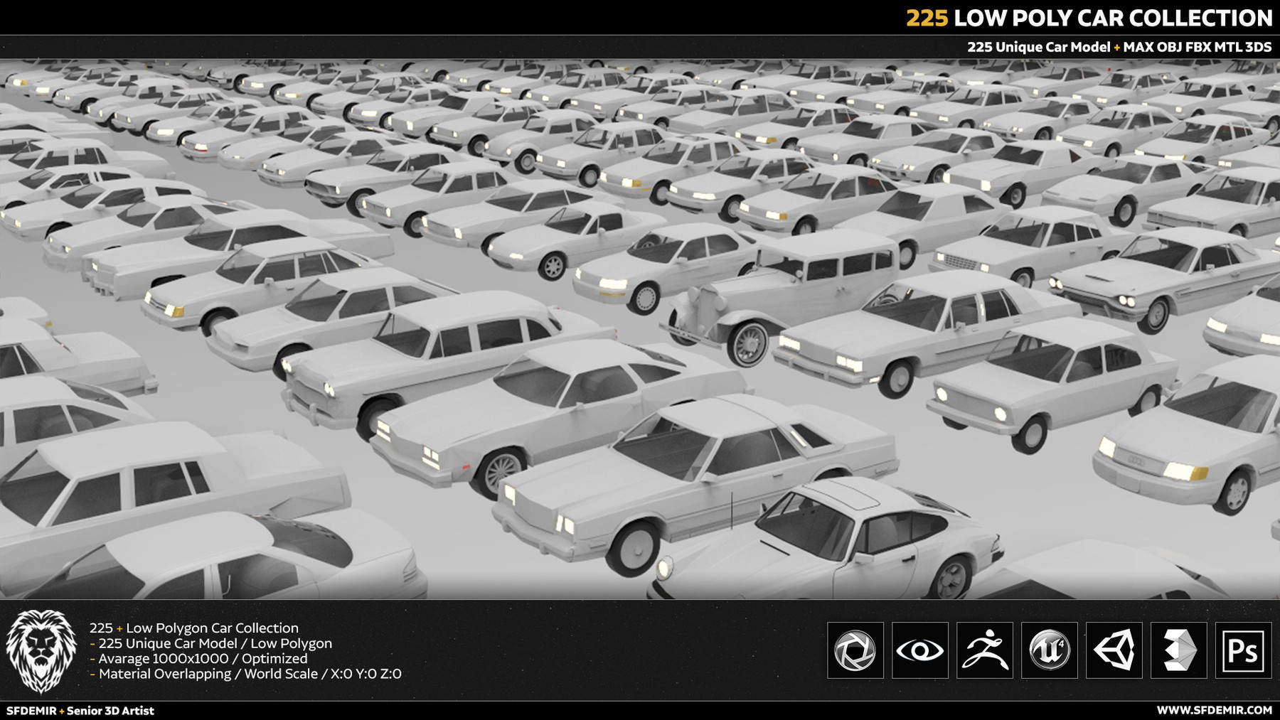 SFDEMIR - 225 Low Poly Car Collection