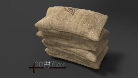 Food Sack Grain Stacked 3D Model