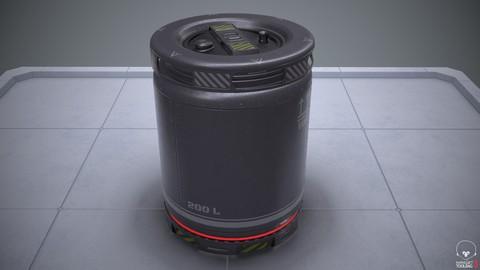 Sci-Fi Barrel PBR Low poly
