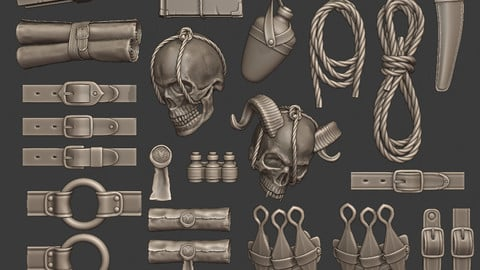 Fantasy Expedition Gear Set - 25 High-poly models for kitbashing