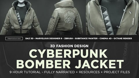 Cyberpunk Bomber Jacket - 3D Fashion Design Course