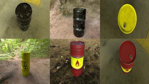 Barrel + 4 diffrent PBR texture