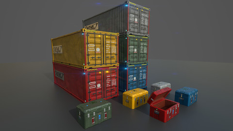 Low poly container,sc-fi box set