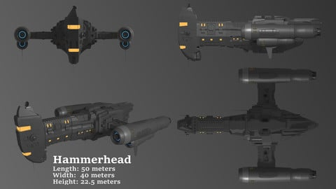 Hammerhead Corvette 3D Spaceship Game Model