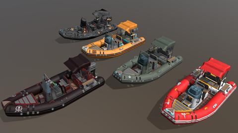 Low poly Zodiac boat set