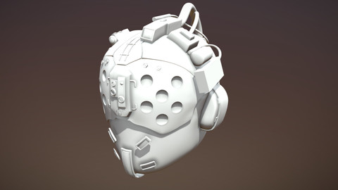 3D Printable Files - Cyber Punk 2077 Med Team, Blue Chin Mask