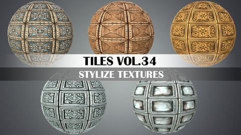 Stylized Tiles Vol.34 - Hand Painted Textures