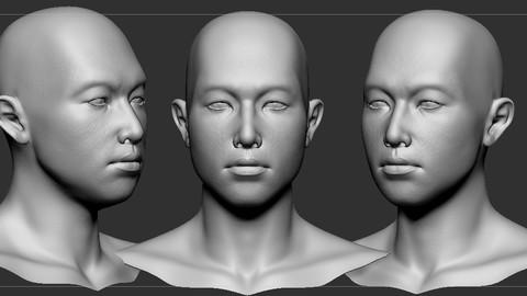 Asian man head