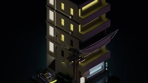 Low Poly Isometric Apartment (.FBX/ .OBJ)