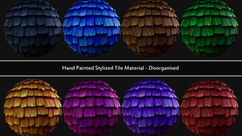 Hand Painted Stylized Tile Material - Disorganised