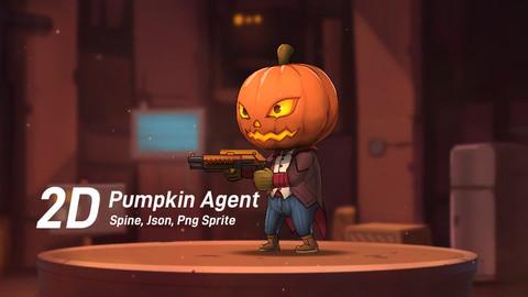 2D Chibi Pumpkin Agent Game Character (Spine)