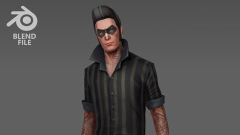 Guy with Mask Tattoo (Legacy Blender File)