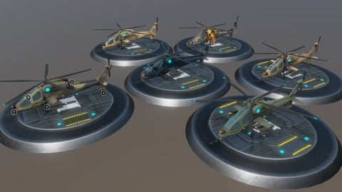 """Low poly """"Atak"""" helicopter set"""