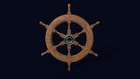 Ship Navigation Steering wheel Low-poly 3D model