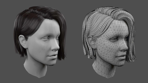 Low poly realistic Realtime Hair