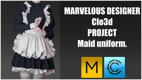 Marvelous designer(Clo3d) project+Render project. Maid uniform.