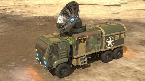 Low poly animated Radar truck