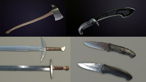 Melee Weapons Pack - 2k 4k Pbr - Vr, Unity and Unreal ready
