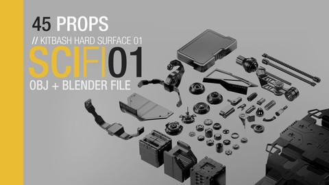 Sci Fi Kitbash 01 - 45 Hard Surface Props