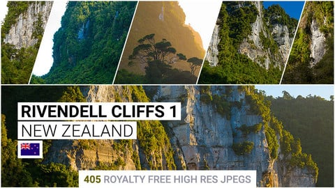 Rivendell Cliffs 1   Matte Painting / reference / photobash pack