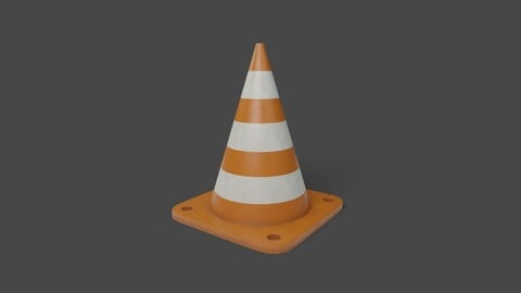 Traffic Cone PBR Low-poly 3D Model