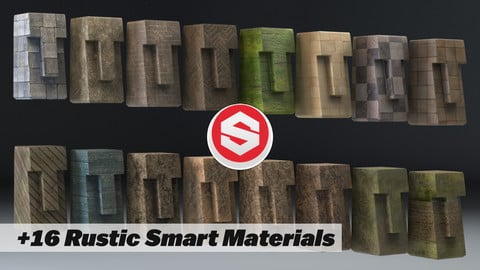 +16 Rustic Earthy Substance Painter SMART MATERIALS and PRESETS