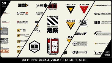 SCI-FI Info Decals VOL.2 + 5 Numeric Sets